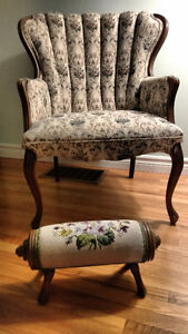 Antique chair and foot rest