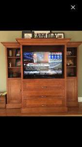 Custom solid maple wall unit and bookcases