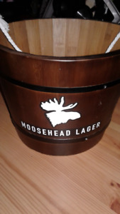 Moosehead beer dark brown wooden bucket