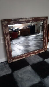 """Large Rustic Wooden Framed Mirror """"HFX Hoarders and Collectors"""""""