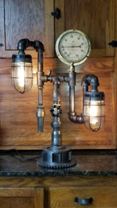 Black Pipe Steampunk Table Lamp #149