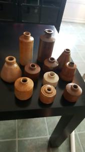 11 encriers en grès antiques Ink stoneware