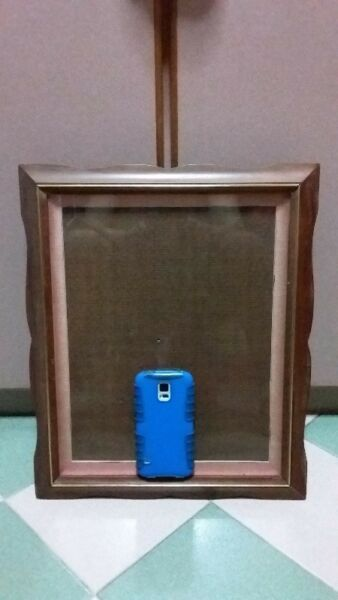 """RARE VINTAGE THAI TEAK PHOTO FRAME 37"""" X 44"""" WITH FRONT GLASS & BACK STAND."""