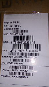 Sold PPU - Factory Sealed - Acer Aspire ES 15