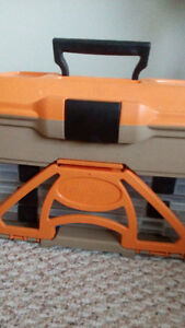Orange fishing tackle box