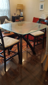 Beautiful Bar Height Glass Table With 2 Chairs