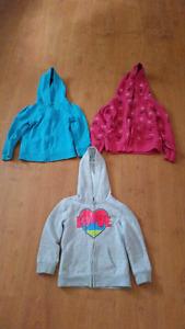 Size 5 zip up hoodies