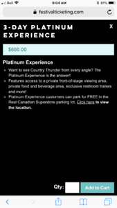 3 Day Platinum Experience Country Thunder Tickets