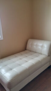 Leather chaise lounge, off white color