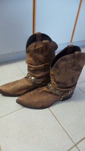 Men's brown soft sided cowboy boots, size 12