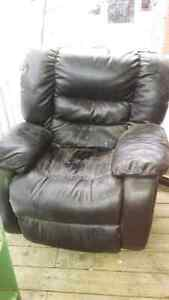 Leather reclining chair, solid wood tv stand