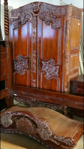 ***Antique FRENCH Solid Hutch, Aaantique Armoire, Chandelier