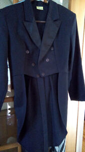 """black tuxedo jacket with """"tails""""; pre-teen or age 12/13 boy"""