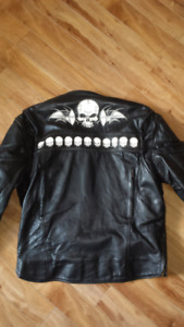 Screaming Eagle leather jacket and chaps