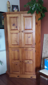 Solid Pine Corner Entertainment Armoire