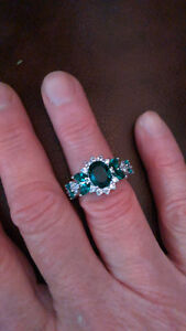 Sterling Silver Genuine Green & White Sapphire RING