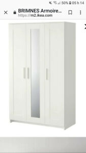 Armoire penderie IKEA Brimnes 3 portes blanches 150$