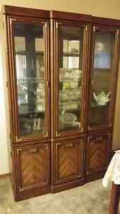 China Cabinet, solid wood, felt lined silver drawer, lighted