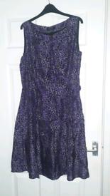 Laura Ashley Purple Grey Print Fit n Flare Dress