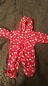 """Columbia """"Snowsuit"""" for Newborn Baby Girl - red with polka dots"""