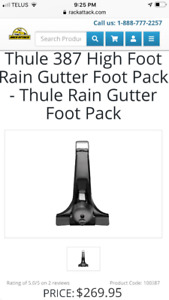 Thule roof rack foot pack to attach to rain gutters