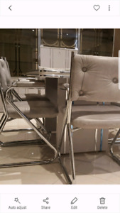 Grey and Chrome table and chair set