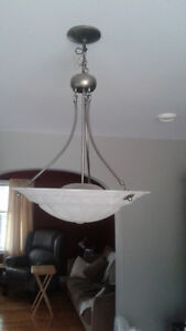 Frosted glass dining room chandelier