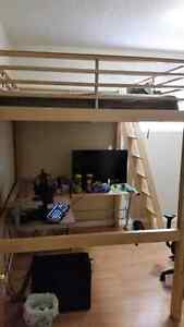 Ikea pine double loft bed with mattress