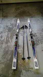 Downhill skis, bindings, poles & boots