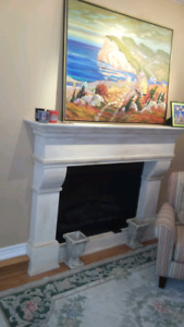 Electric Fireplace With Custom Mantle