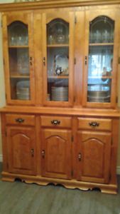 SOLID OAK BUFFET, HUTCH, TABLE, CHAIRS
