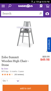 Zobo Summit Wooden High Chair