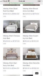 Wesley Allan iron bed posts for Queen bed frame