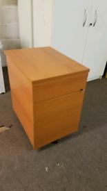 Lockable Cherry Wood Effect 3 Drawer Office Desk Pedestal