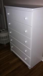 White  Five  Drawer  Dresser