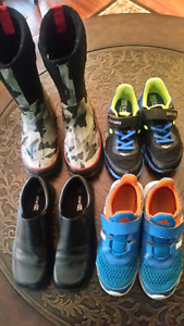 3 PAIRS OF BOYS SHOES AND ONE  PAIR OF BOOTS