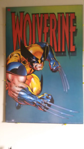 Wolverine wood mounted picture.