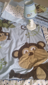 Monkey Crib Bed Set + Lamp