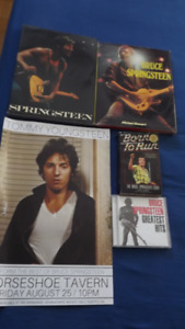5 BRUCE SPRINGSTEEN ITEMS PACKAGE DEAL:3 BOOKS,1 CD,1 POSTER