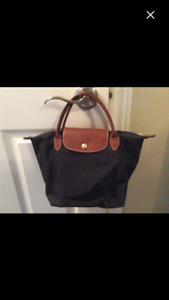 Authentic navy long champ small tote