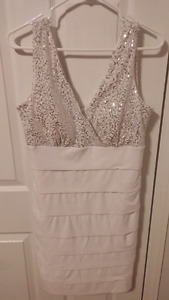 White Jessica Dress, silver sequins on top