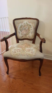 Vintage French, Needlepoint Arm Chair