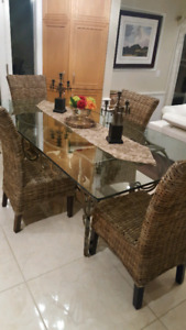 Rococo style brass table with glass top
