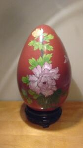 Vintage Chinese Large Size Cloisonne Egg Vase With Stand,Flowers