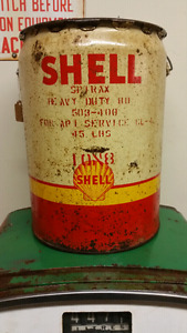 Vintage Shell Pail Advertising Oil Tin Can Moto Canco
