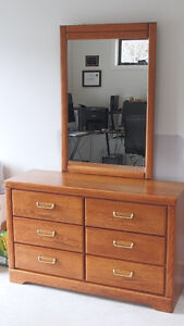 Lovely Maple Finish Dresser with Mirror
