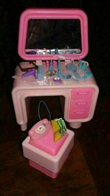 Vintage Barbie Dream Furniture Dresser Vanity Stool Extras Glasses Dryer Cash