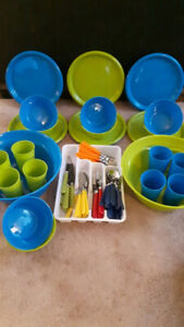 73 piece Hard Plastic Dishes and Multi Coloured Cutlery Set