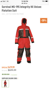 Unisex Mustang Survial MS-195 Integrity HX Survial Suit -Red XL