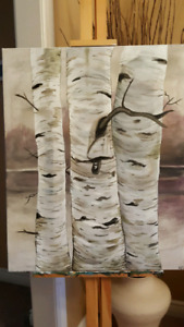 Large Original Birch Tree Forest Painting 24x30